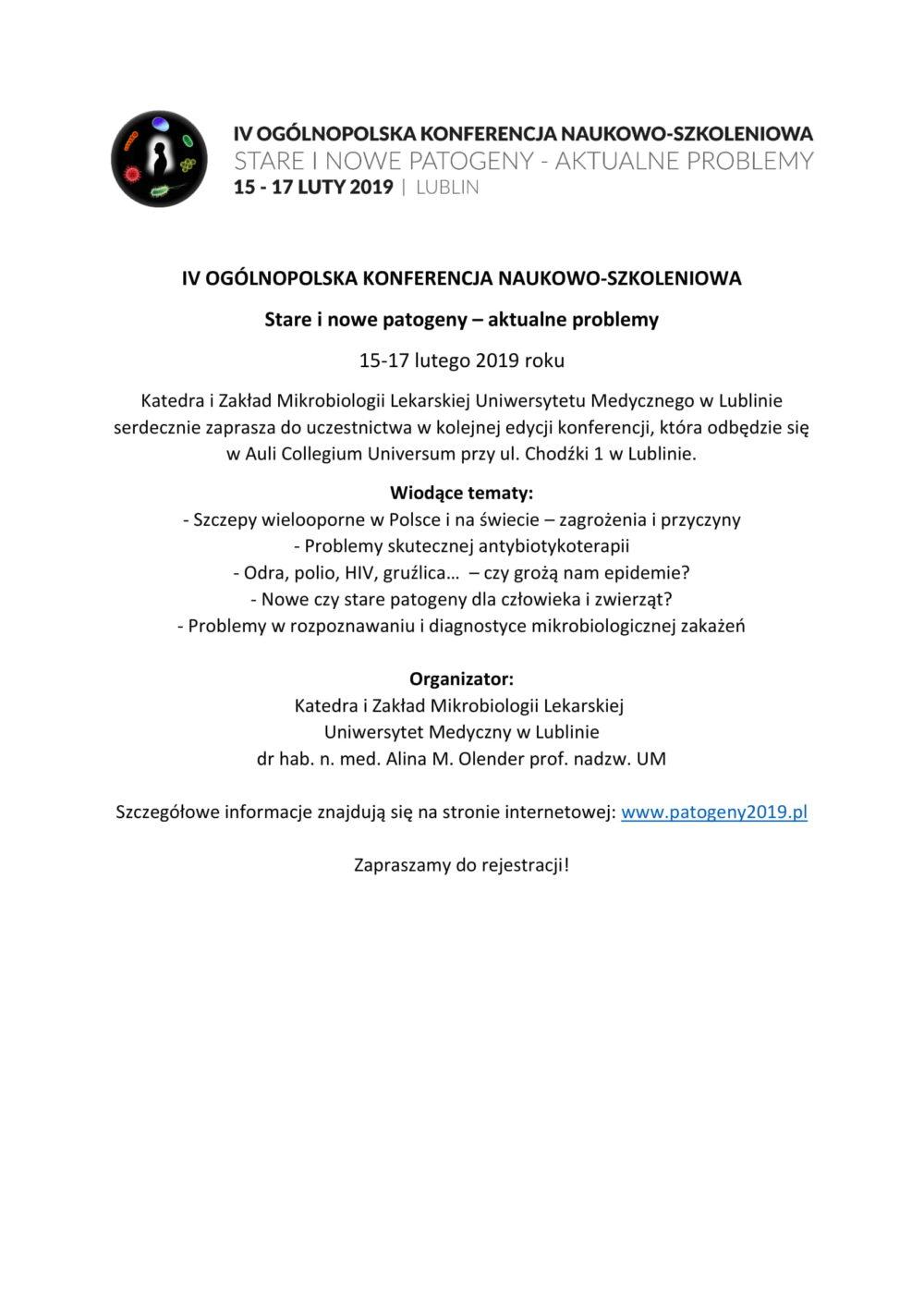 KONFERENCJA NAUKOWO-SZKOLENIOWA Stare i nowe patogeny – aktualne problemy. 15-17 luty 2019